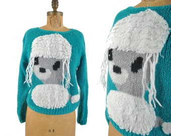 80s scary poodle sweater with long 3d hair / shaggy embellished dog sweater / 1980s turquoise sweater .. s