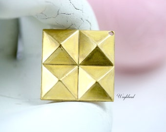 Raw Brass Multi-Square Pyramid Geometric Charms - 4