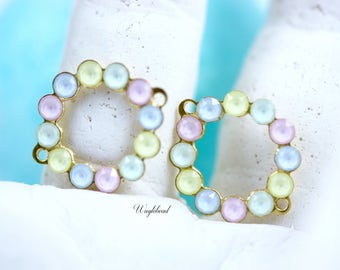 Pastel Green Blue Yellow & Pink Swarovski Rhinestone 19x16mm Circle Bangle Connector Round Drops Findings Raw Brass - 2