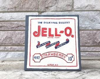 "Original Painting - Jello - 5.5"" x 5.5""  Acrylic Painting on Block Wood"