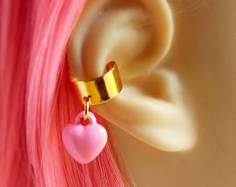 Kawaii Earring Ear Cuff Cartilage Piercing Pastel Pink Heart Sweet Lolita Gold Tone Jewelry Cuff Earring Fairy Kei Jewelry Puffy Heart