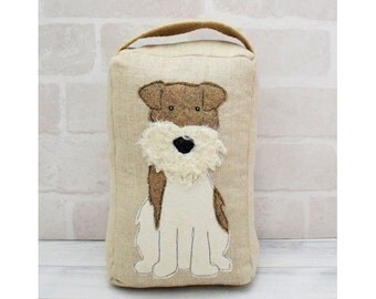 Scruffy Dog Applique Door Stop sewing pattern instant download pdf file