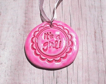 Girl Birth Announcement Necklace. Handmade clay pendant. Polymer clay pendant. Polymer clay necklace.