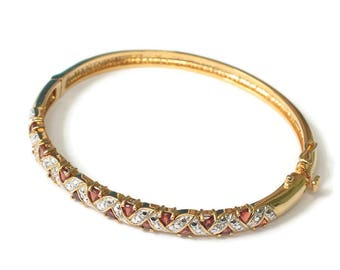 Garnet Bangle Bracelet Hinged Gold Tone Silver Tone Smaller Wrist Vintage