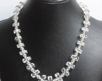 Rock Crystal Choker Necklace Art Deco 16 Inch Bridal Prom Vintage