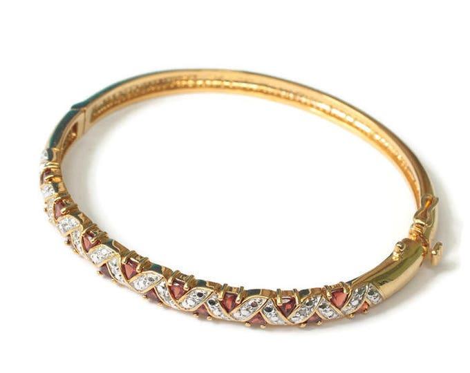 Garnet Bangle Bracelet Hinged Gold Tone Silver Tone Smaller Wrist Vintage