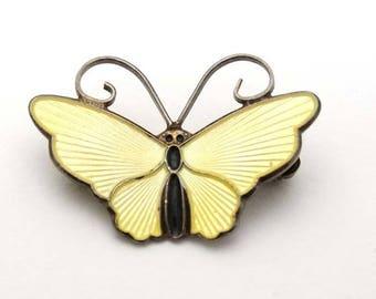 Vintage Yellow Butterfly Brooch - David Andersen Sterling Silver Scandinavian-Norwegian Jewellery