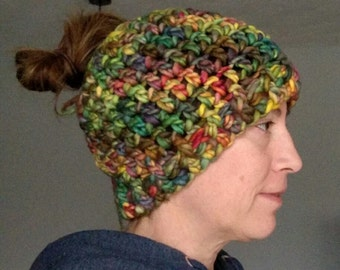 Super Chunky Multi-color bun hat winter hat