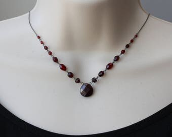 Garnet Necklace, Birthday Gift for Wife, Goth, Retro Trend, Downtown Abbey, for Sister, Best of Summer, for Girlfriend, Summer Trends, Gifts