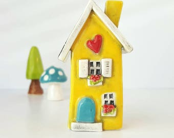 Yellow House with Turquoise Door | Little Clay House | Miniature House | Whimsical Clay house | Yellow Fairy House | Yellow Clay Cottage