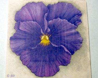 Decoupage Napkins,  vintage paper napkins,purple lily flower