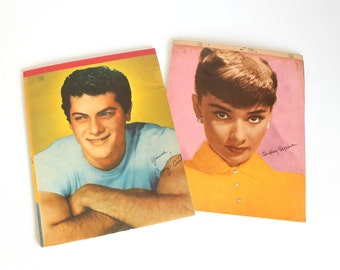 Vintage Audrey Hepburn Tony Curtis Writing Tablet Notepad Lithography Mid Century Paper Ephemera Choice of One
