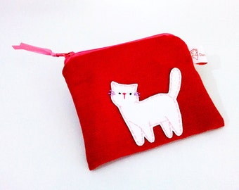 Christmas gift cat purse in red white cat zipper pouch coin purse wallet gift for her for cat lovers for girlfriend for cat lady