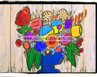 Reclaimed Bouquet -Print on Wood Canvas