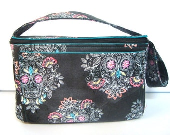 "4"" Large Size Coupon Organizer Holder with Zipper Closer - Black with Sketch Sugar Skulls"
