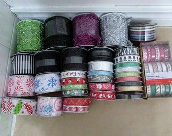 50+ Lot of Ribbon, Christmas, Halloween, Adhesive Ribbon, Glitter Ribbon