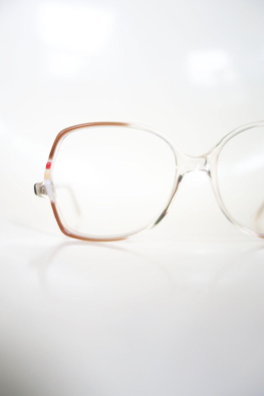 71ea1b29ed8 1970s Retro Eyeglasses Colorful Bright Seventies 70s Light Brown Boxy  Oversized Huge Womens Ladies Deadstock NOS