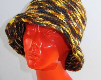 50% OFF SALE Instant digital file pdf download knitting pattern - chunky self striping brim hat pdf download knitting pattern