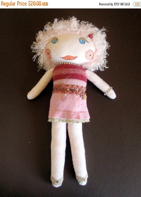 ON SALE NOW Felted Wool Soft Sculpture Fancy Girl Doll