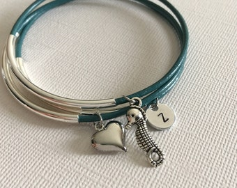 Seahorse , layered bracelets,Stacked boho,bracelet set,Leather bangles,Boho jewelry,Personalized, Monogram,Stacking bangles, BFF bracelets