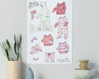 Polar bear dress up paper doll with clothes - polar bear gift - children's activity - hand drawn paper doll animal - polar bear with clothes