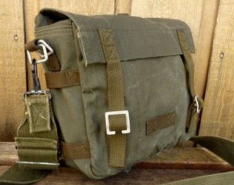 Vintage Canvas Army Mini Messenger Bag / Man Bag Satchel