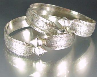 Antique ART DECO FLAPPER Bangle Bracelet Pair Floral Upper Arm or Larger Wrist