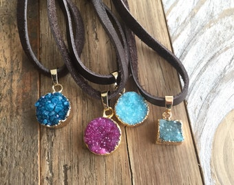 Druzy Leather Necklace