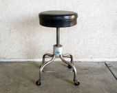 Vintage Industrial Stool in Chrome / Retro Seating for Workbench, Drafting Table, Kitchen Island, Etc. Circa 1950's - 1960's.