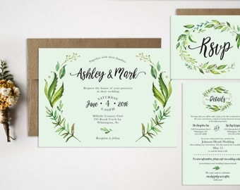 Wedding Invitation Bundle  Watercolor Wedding Invitation  Laurel Wedding Invitation  Floral