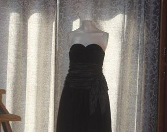 Vintage 80's Black Velvet Strapless Mini Party Dress S  5/6