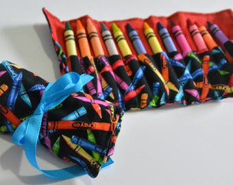 Crayon Rolls -READY TO SHIP  - In Fun Crayon Print Fabric - 12 Crayola Crayons Included
