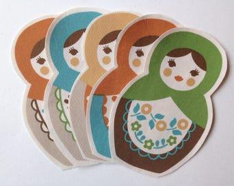 Set Of 5 Fabric Iron On Matryoshka Appliques