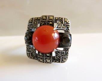 Circa 1930.  Carnelian, Marcasite and Tiger's eye Sterling Silver Ring.