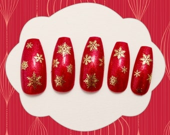 Coffin Fake Nails-Red Sparkle Snowflakes, Ballerina Coffin Fake Nail, Snowflake Holiday Fake Nail, Red Glitter, False Nails, Acrylic Nail