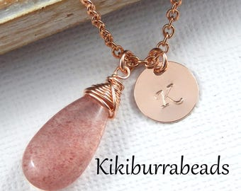 Strawberry Quartz Necklace,Rose Gold Necklace,Personalized Necklace,Initial Necklace,Mothers Jewelry,Mothers Day Gift,Pink Gemstone Necklace