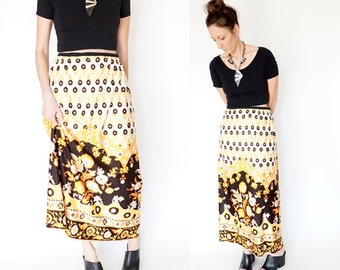 SALE vintage 70s PSYCHEDELIC print MAXI skirt M-L