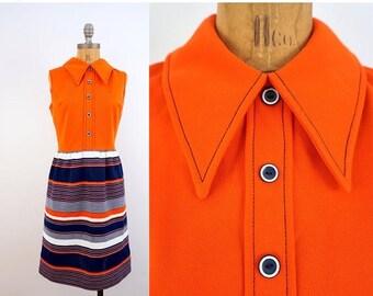 SPRING SALE vintage MOD striped red + white + blue Sleeveless dress S-M