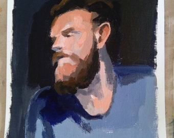 Portrait of bearded man. -original acrylic painting-