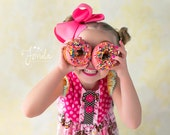 SALE- Girls Donut Dress, Donut Love, Doughnut dress, Pink Polka Dot Dress, Pink Donut Dress, birthday dress, Melon Monkeys