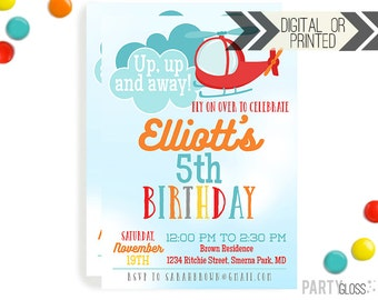 Helicopter Birthday Invitation | Digital or Printed | Helicopter Invitation | Helicopter Theme | Helicopter Invite | Helicopter Printable