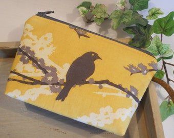 "SPECIAL of the DAY - Small Flat Bottom--Padded Zipper Pouch in Joel Dewberry's ""Sparrows"""