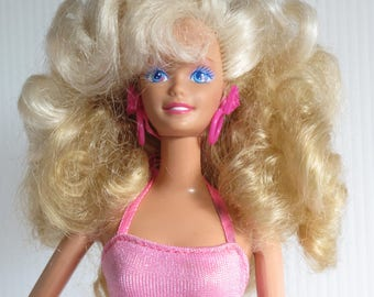 Barbie Style Magic Doll + Swimssuit + Shoes + Pink Bangle Earrings - Blonde Collectible Barbie Doll with 2 Tone Hair