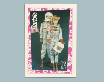 """Barbie Collectible Trading Card - """"Miss Astronaut"""" Barbie + """"Mr. Astronaut"""" Ken 1965 - Card No. 115 for Barbie collectors, dioramas"""