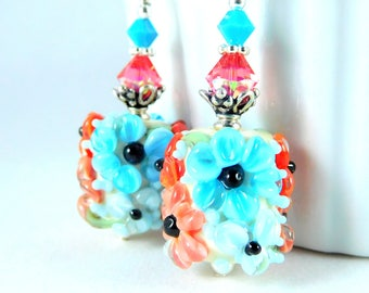 Turquoise Blue Orange Peach Ivory Black Floral Glass Dangle Earrings Summer Jewelry Colorful Botanical Drop Earrings Nature Flowers Lampwork