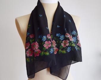 Vintage Black Pointillism Floral Scarf