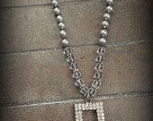 Hand Knotted Crystal Beaded Vintage MUSI Rhinestone Necklace