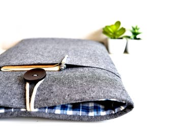 "13"", 14"", 15"" Laptop Case, Padded Computer Sleeve with Pocket, Custom Size fit Chromebook, MacBook, Dell, Surface - Charcoal Linen and Plaid"