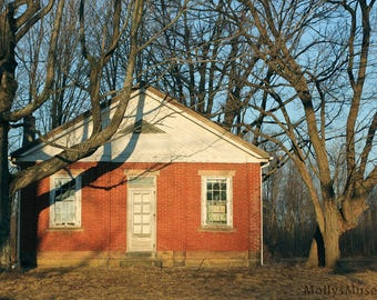 Rustic Photograph, Surreal Photography, Old Red One Room Red Brick School House, Country Photo, Pennsylvania Art, Teacher Gift