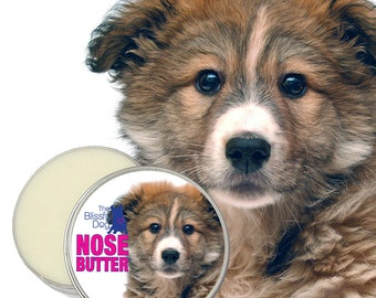 Mixed Breed Dog NOSE BUTTER® Handcrafted All Natural Balm for Crusty Dry Dog Noses 4 oz. Tin with Mixed Breed Puppy on Label in Gift Bag